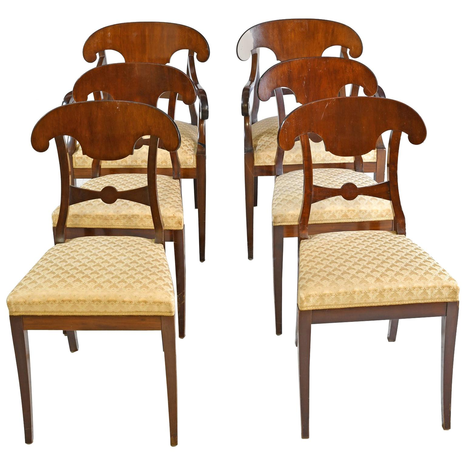 Set of 6 Swedish Karl Johan Dining Chairs in Mahogany, circa 1840-1860