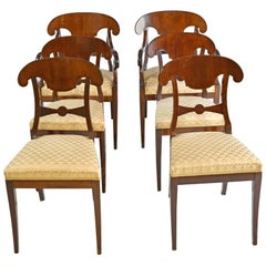 Set of 6 Swedish Karl Johan Dining Chairs in Mahogany, circa 1840-1860