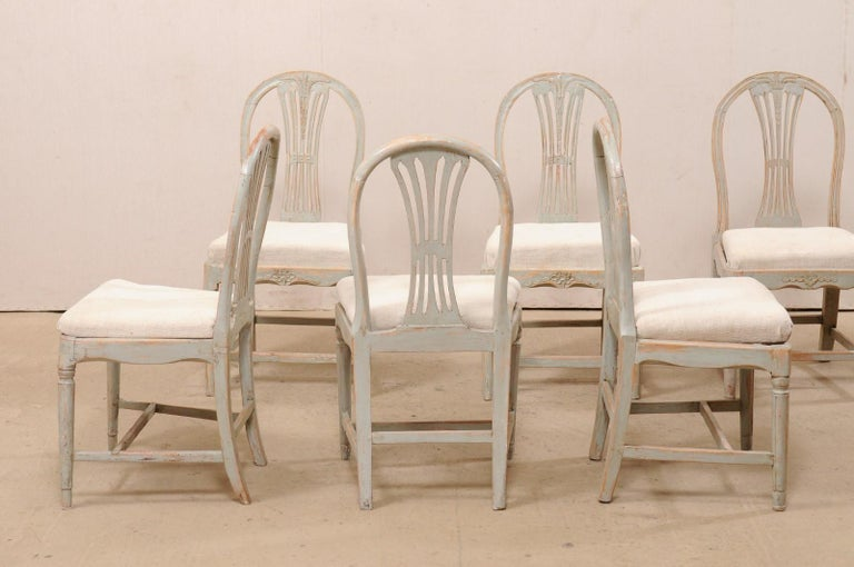 19th Century Set of 6 Swedish Provincial Gustavian Carved Wheat-Back Chairs
