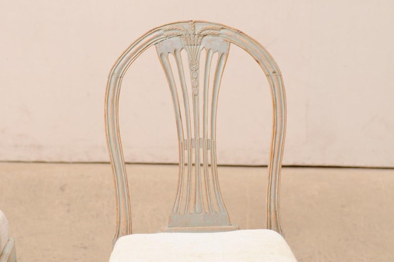 Wood Set of 6 Swedish Provincial Gustavian Carved Wheat-Back Chairs