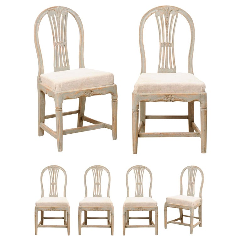 Set of 6 Swedish Provincial Gustavian Carved Wheat-Back Chairs