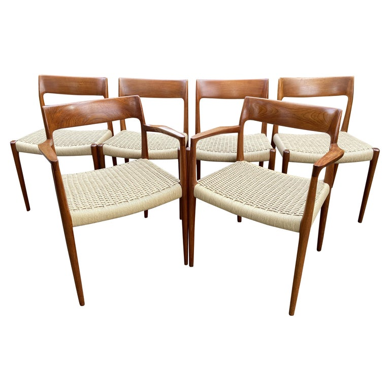 Set of 6 Teak and Papercord Dining Chairs by Niels O. Moller for J. L. Moller For Sale