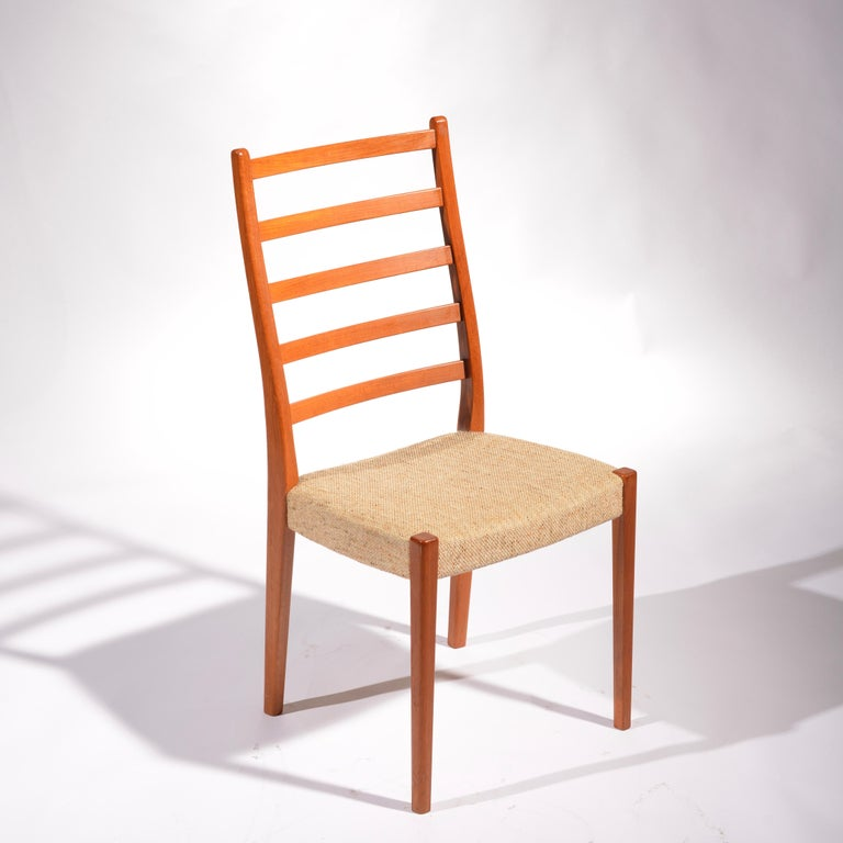 A great set of 6 solid teak ladder back dining chairs by Svegards Markaryd. Chairs are burnt marked Svegards Markaryd made in Sweden.  Priced per chair. Multiples of 2 may be purchased.  These items are located at our Los Angeles Arts District
