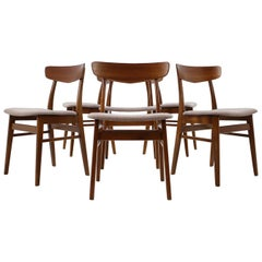 Set Of 6 Teak Dining Chairs Denmark, 1960