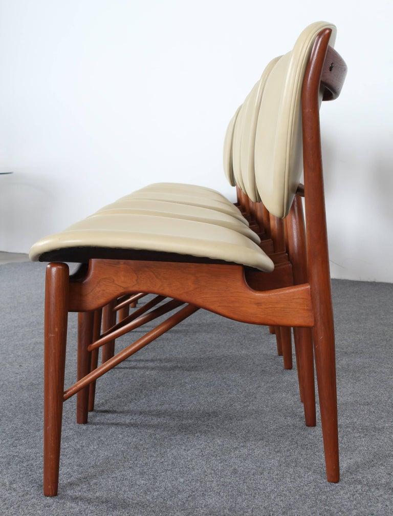 Set of six sculptural teak dining chairs designed by Finn Juhl NV-51 for Baker Furniture Company, circa 1960. These organic style chairs are well crafted and functional. Very good condition with age appropriate wear.  Dimensions: 22