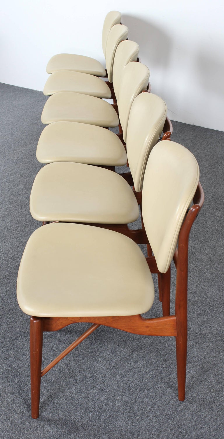 Mid-Century Modern Set of Six Teak Finn Juhl NV-51 Dining Chairs for Baker Furniture Company, 1960s For Sale