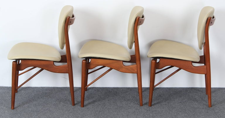 Mid-20th Century Set of Six Teak Finn Juhl NV-51 Dining Chairs for Baker Furniture Company, 1960s For Sale