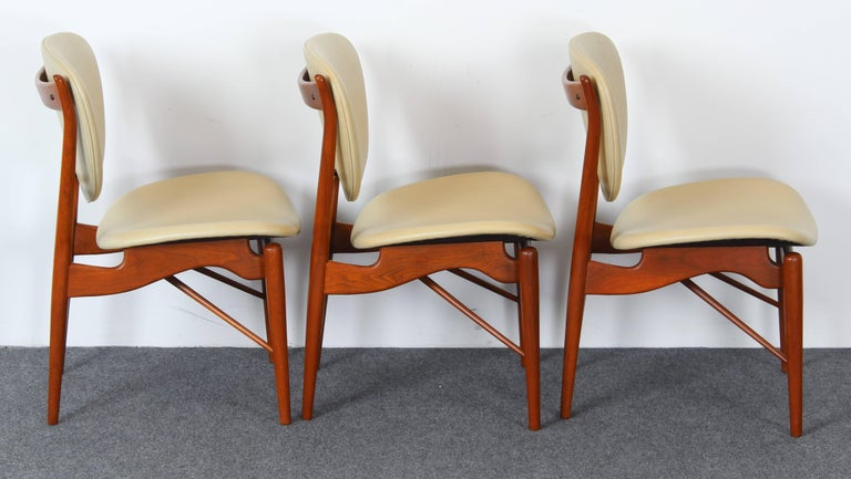 Leather Set of Six Teak Finn Juhl NV-51 Dining Chairs for Baker Furniture Company, 1960s For Sale