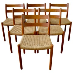Set of 6 Teak Model 84 Dining Chairs by Niels O. Møller