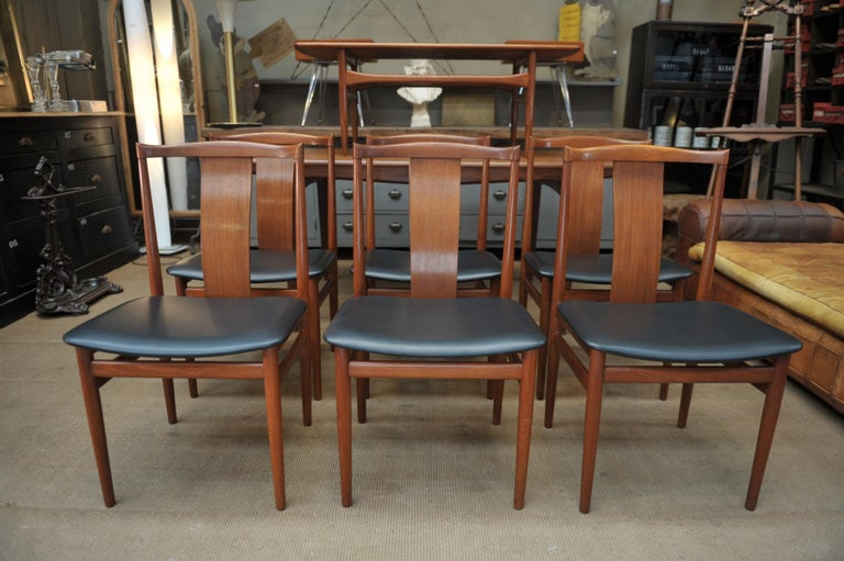 Set Of 6 Teak Scandinavian Dining Room Chairs Circa 1960 For