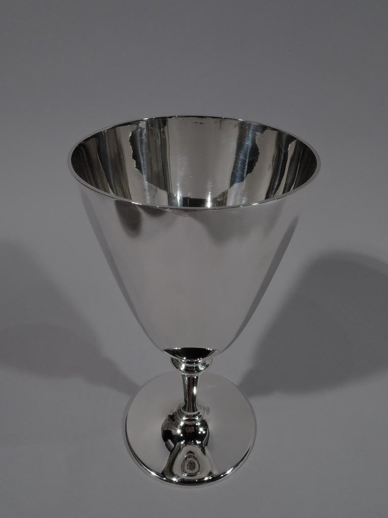 Set of 6 Tiffany American Modern Sterling Silver Goblets In Excellent Condition For Sale In New York, NY
