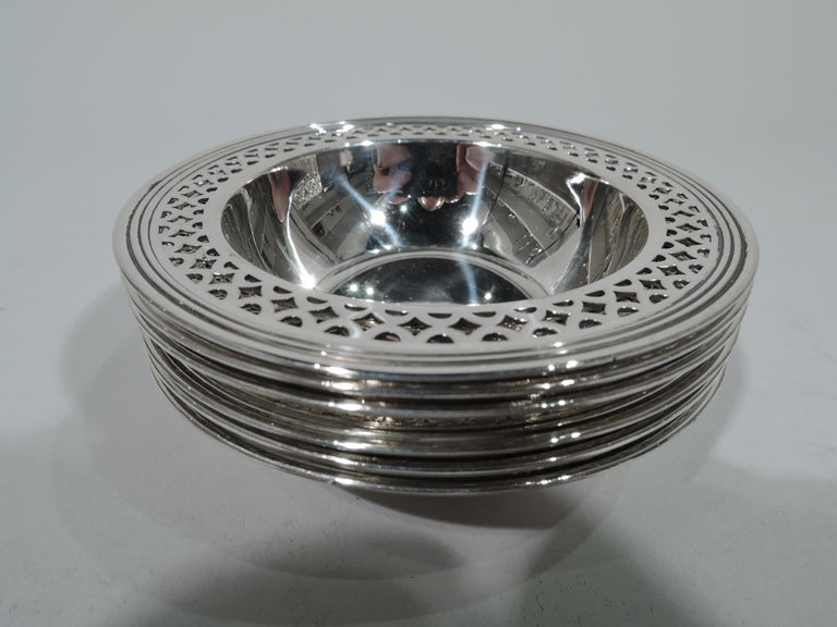 American Set of 6 Tiffany Art Deco Modern Sterling Silver Nut Dishes For Sale