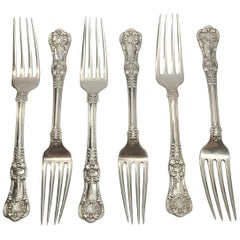 Set of 6 Tiffany & Co Sterling Silver English King Forks with Monogram