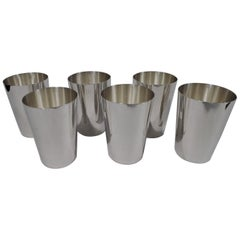 Set of 6 Tiffany Midcentury Modern Sterling Silver Tumblers