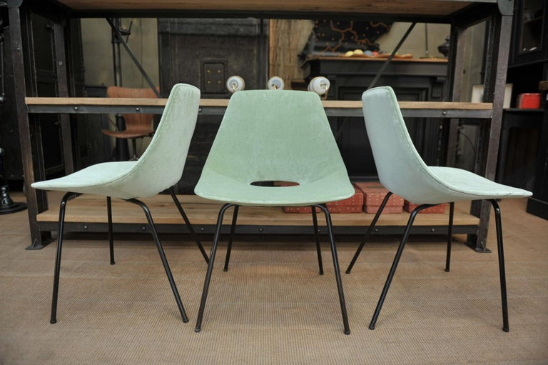 Set of 6 Tonneau Chairs by Pierre Guariche for Steiner, 1954 For Sale 3