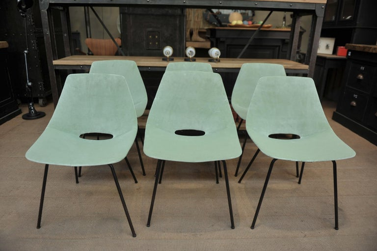 Mid-Century Modern Set of 6 Tonneau Chairs by Pierre Guariche for Steiner, 1954 For Sale