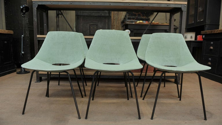 Mid-20th Century Set of 6 Tonneau Chairs by Pierre Guariche for Steiner, 1954 For Sale