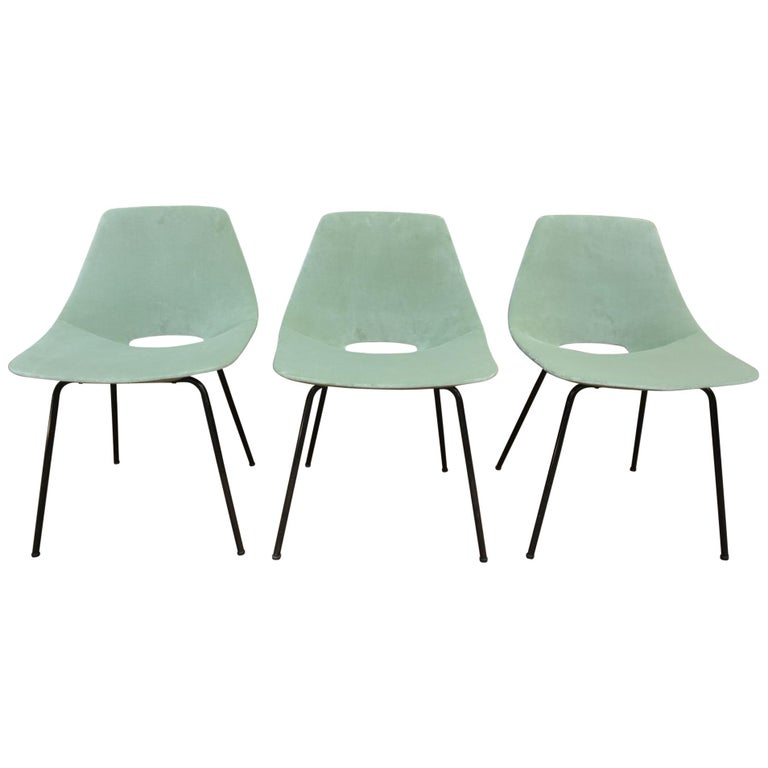 Set of 6 Tonneau Chairs by Pierre Guariche for Steiner, 1954 For Sale