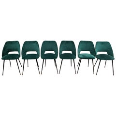 Set of 6 Tonneau Chairs in Green Velvet