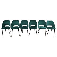 Set of 6 Tonneau Chairs in Green Velvet