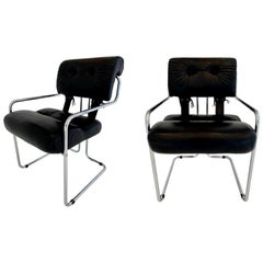 "Set of 6 ""Tucroma"" Chairs in Black Leather by Guido Faleschini"