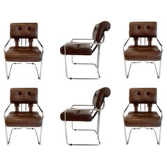 "Set of 6 ""Tucroma"" Chairs in Brown Leather by Guido Faleschini"