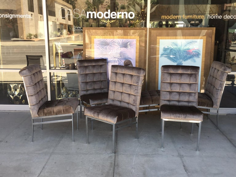 These set of six rare Pierre Cardin chairs were from a vintage high-end Palm Springs Estate. Purchased from the original owner they were in a tan color velvet, but we upgraded them in a beautiful mink color antique velvet. Done exactly as per the