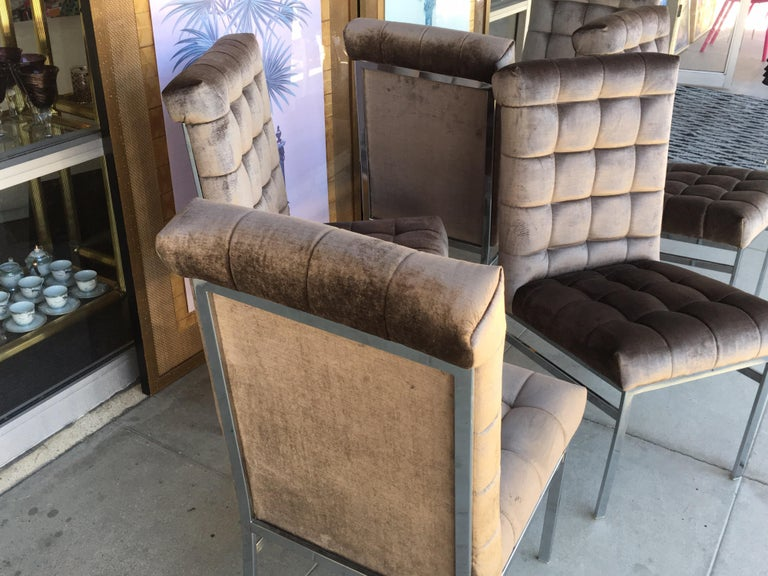 Set of 6 Tufted Pierre Cardin Dining Chairs in New Mink Color Velvet In Good Condition For Sale In Palm Springs, CA