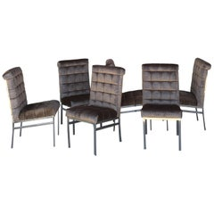 Set of 6 Tufted Pierre Cardin Dining Chairs in New Mink Color Velvet