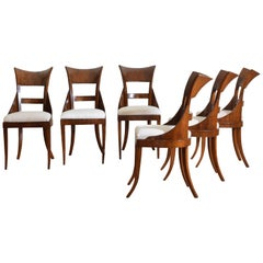 Set of 6 Venetian Walnut Veneered Dining Chairs, Early 19th Century
