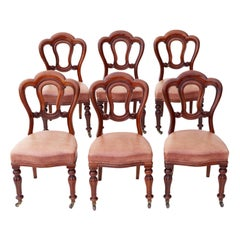 Set of 6 Victorian Mahogany Leather Dining Chairs