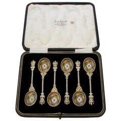 Set of 6 Victorian Silver Gilt and Multicolored Enamel Teaspoons, 1890