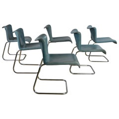 Set of 6 Vintage Blue Leather and Chrome Dining Chairs
