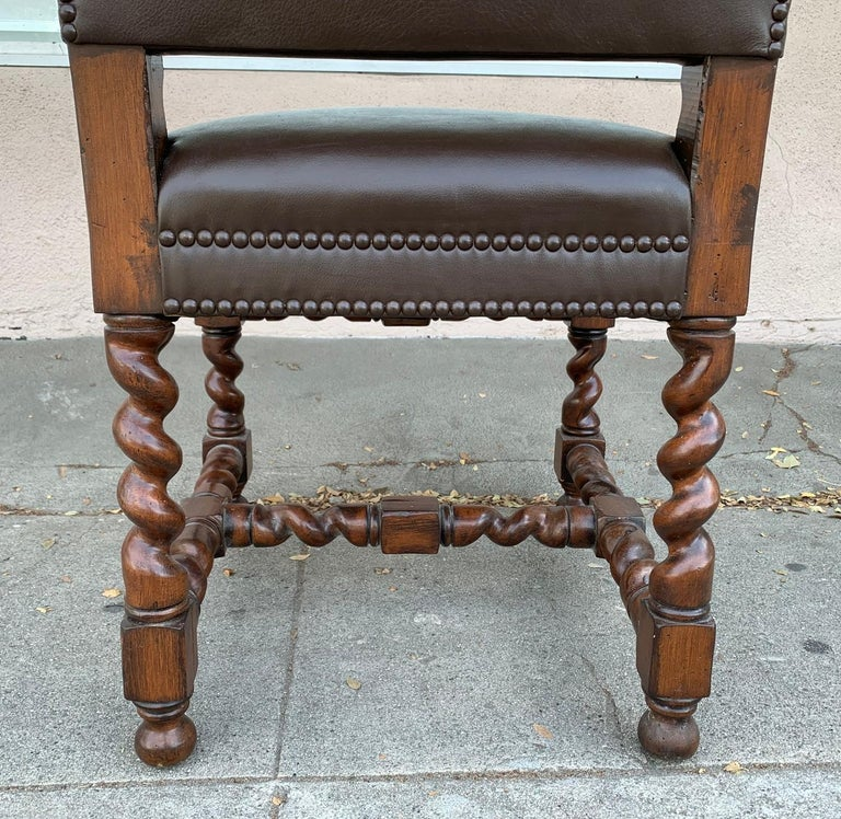 Set of 6 Vintage Chairs with Turned Legs and Leather Upholstery For Sale 6