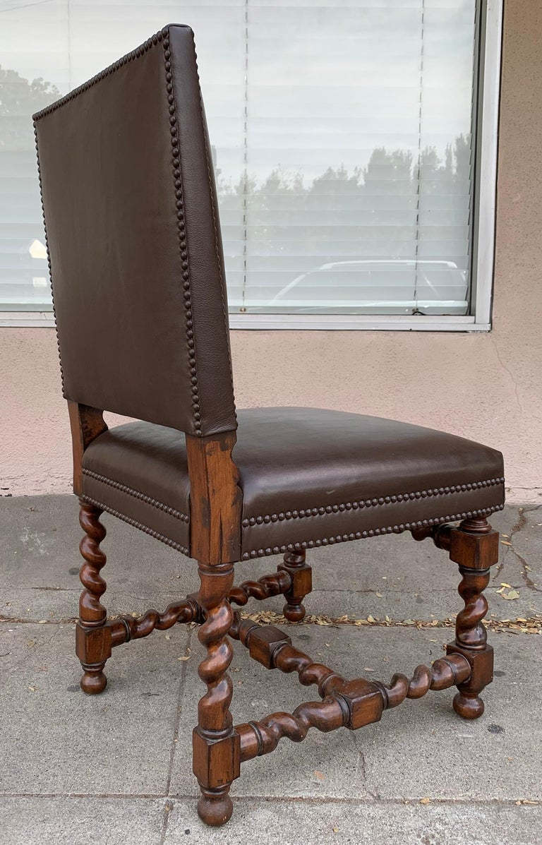 Nice set of 6 vintage chairs designed and manufactured in the US in the 1960s, they have beautifully sculpted legs/bases, the leather is a chocolate brown with a nailhead trimming. The chairs are in very good condition and are ready to be
