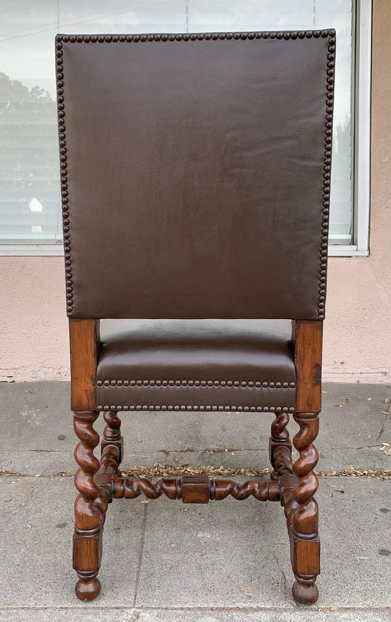 Mid-20th Century Set of 6 Vintage Chairs with Turned Legs and Leather Upholstery For Sale
