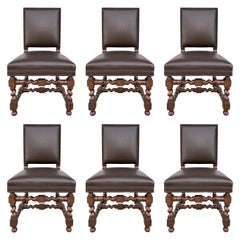 Set of 6 Vintage Chairs with Turned Legs and Leather Upholstery