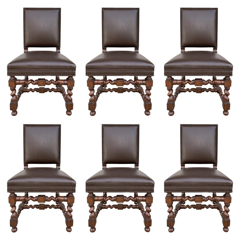 Set of 6 Vintage Chairs with Turned Legs and Leather Upholstery For Sale