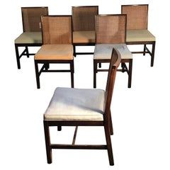 "Set of 6 Vintage ""Country Club Modern"" Parson Chairs in Walnut and Cane 'USA'"