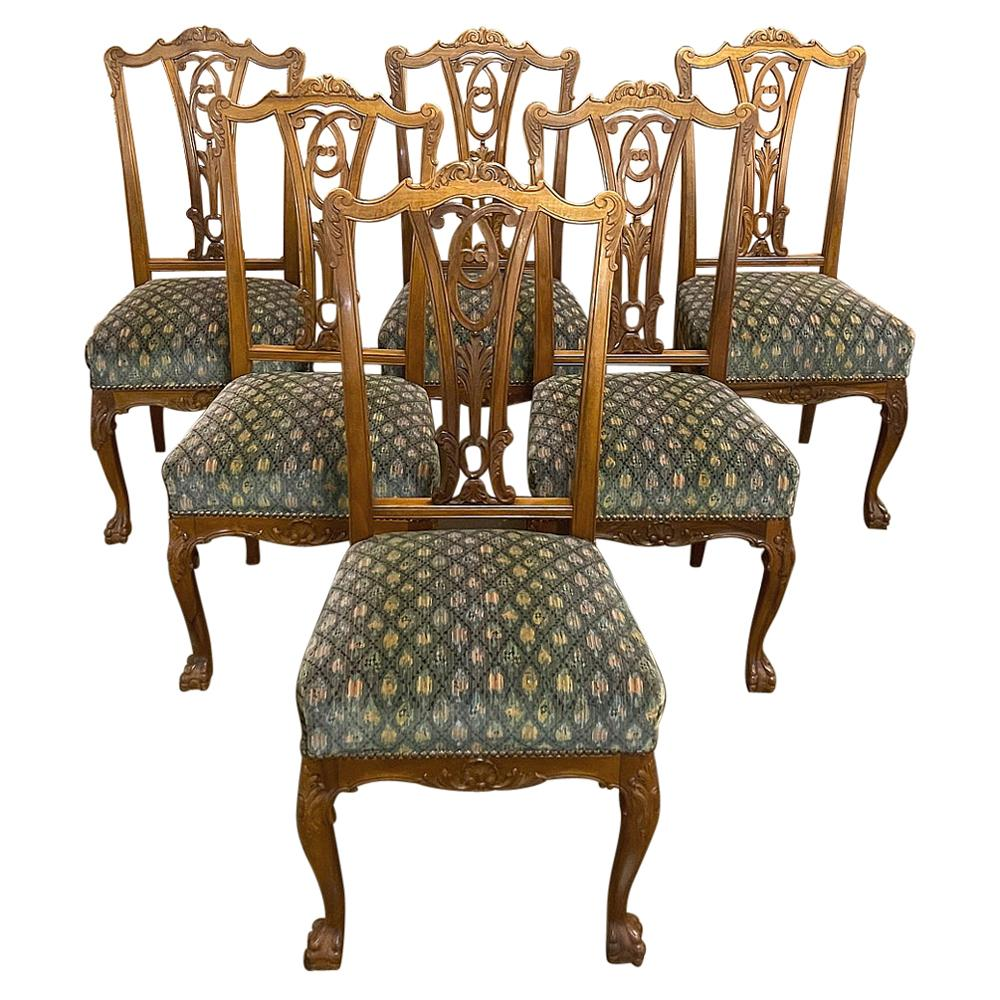 Set of 6 Vintage English Chippendale Mahogany Dining Chairs