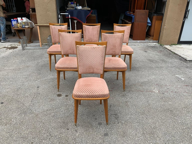 Set of 6 Vintage French Art Deco Solid Mahogany Dining Chairs, 1940s For Sale 6