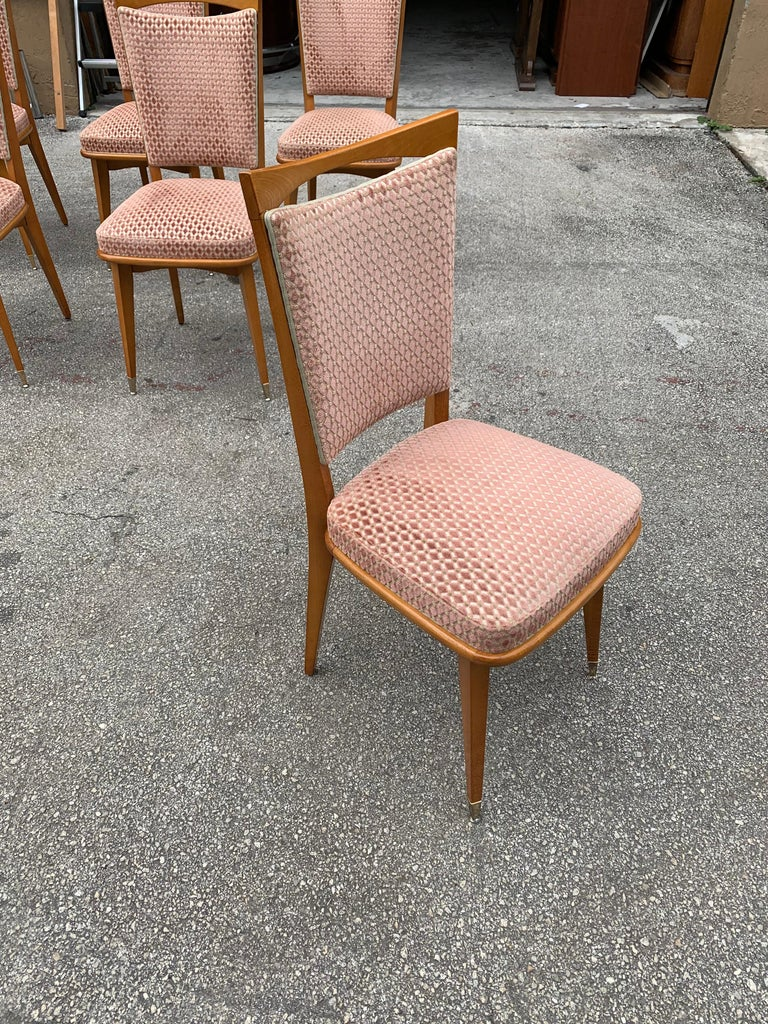 Set of 6 Vintage French Art Deco Solid Mahogany Dining Chairs, 1940s For Sale 7