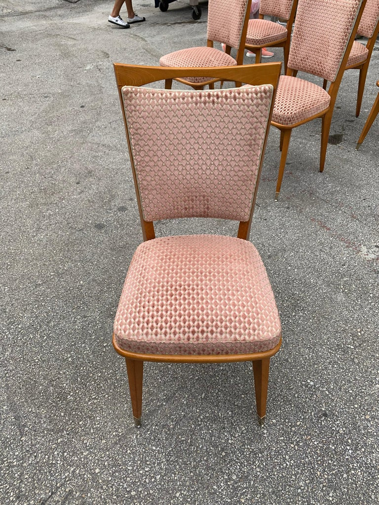Set of 6 Vintage French Art Deco Solid Mahogany Dining Chairs, 1940s For Sale 8
