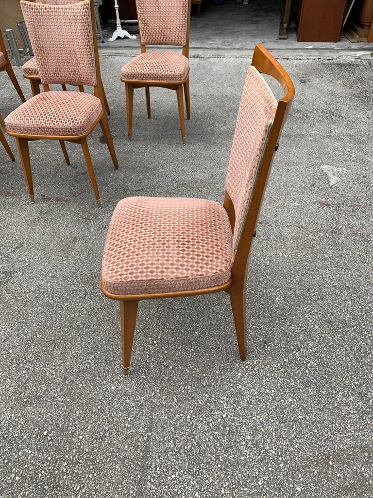 Set of 6 Vintage French Art Deco Solid Mahogany Dining Chairs, 1940s For Sale 9
