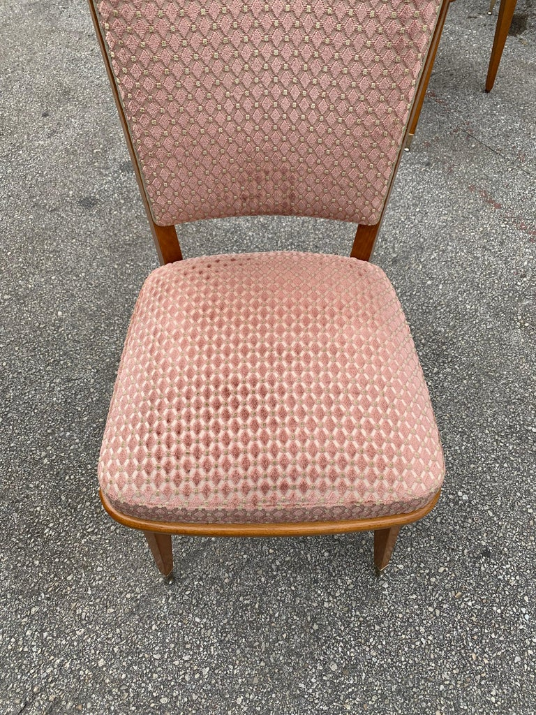 Set of 6 Vintage French Art Deco Solid Mahogany Dining Chairs, 1940s For Sale 10