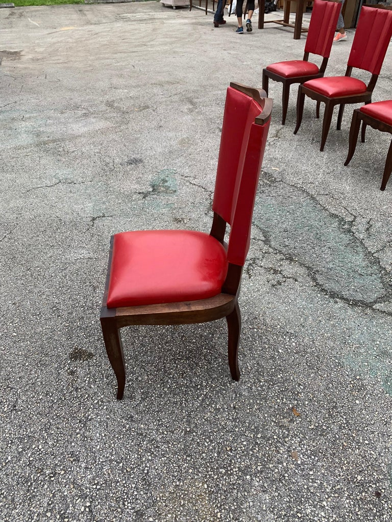 Set of 6 Vintage French Art Deco Solid Mahogany Dining Chairs, 1940s For Sale 11