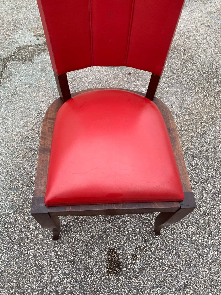 Set of 6 Vintage French Art Deco Solid Mahogany Dining Chairs, 1940s For Sale 12