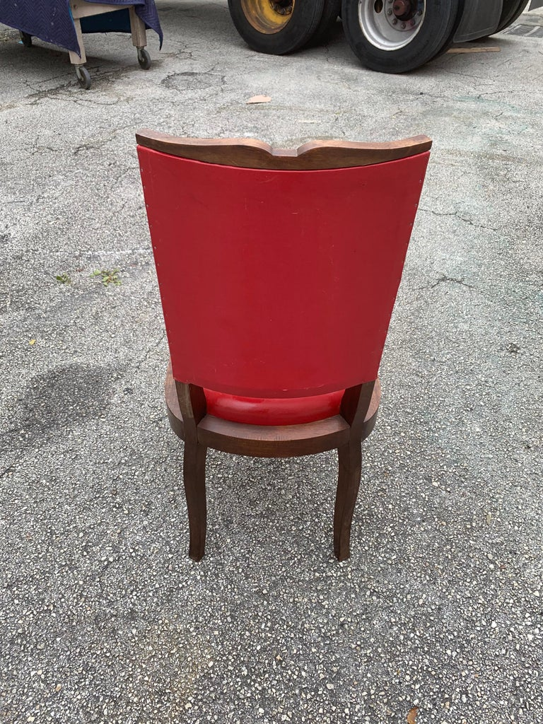 Set of 6 Vintage French Art Deco Solid Mahogany Dining Chairs, 1940s For Sale 13