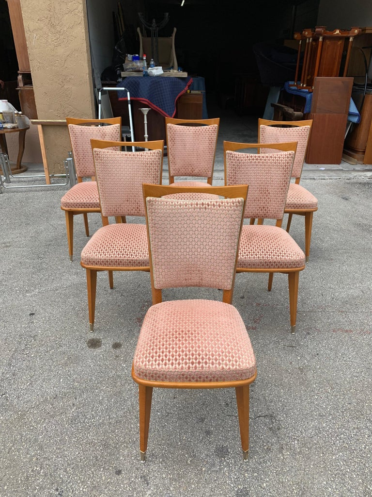 Beautiful Classic set of six French Art Deco dining chairs solid mahogany, the two front feet are capped with brass, the chair frames are in excellent condition. (The velvet fabric is in very good condition for all 6 dining chairs). Dimensions