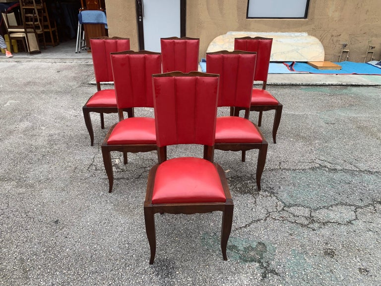 Beautiful Classic set of six French Art Deco dining chairs solid mahogany, the chair frames are in excellent condition. (the reupholstery is vinyl recommended to be change for all 6 dining chairs, but the vinyl is in correct condition original) the